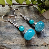 Agate & Quartzite Earrings Silver Plated