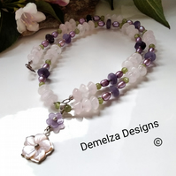 Rose Quartz, Freshwater Pearl, Peridot & Amethyst Necklace Sterling silver