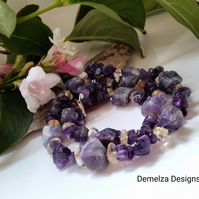 Natural Chunky Amethyst & Citrine Sterling Silver Necklace