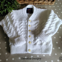 Girl's  Cable Design Cardigan 2-3 Years size  MADE TO ORDER ONLY