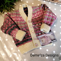 Luxery Baby Girl's Designer Hand knitted Cardigan with wool & Cotton 3-9 months