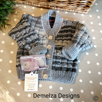 Luxery Baby Boys Designer Hand knitted Cardigan with wool & Cotton 3-9 months