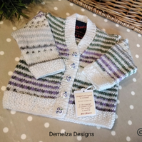 Luxery Baby Girls Designer Hand knitted Cardigan with wool & Cotton 3-9 months