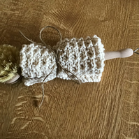 Hand knitted dishcloth with wooden handle bristle brush