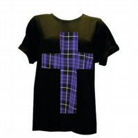 PRETTY DISTURBIA ROCKABILLY TARTAN BLACK PURPLE T-SHIRT TOP