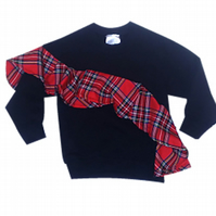 CHILDREN'S PRETTY DISTURBIA SLOUCHY BLACK FRILL RED TARTAN PUNK GRUNGE TOP