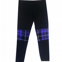 CHILDREN'S TARTAN PATCH PURPLE PUNK GRUNGE GOTH LEGGINGS