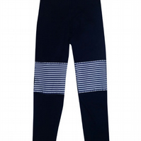 CHILDREN'S PRETTY DISTURBIA GIRLS NAVY PATCH LEGGINGS STRIPED PUNK GRUNGE BLUE