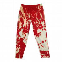 CHILDREN'S PRETTY DISTURBIA RED BLEACH ACID WASH LEGGINGS