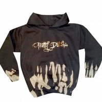 CHILDREN'S GIRLS PUNK GRUNGE PRETTY DISTURBIA DRIPS BLACK HOODY TOP GOTHIC GOTH