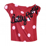 PRETTY DISTURBIA BETTY BOOP HANDMADE RETRO RED CARTOON PRINT HARAJUKU CROP TOP