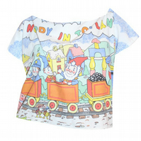 PRETTY DISTURBIA HANDMADE NODDY PRINT RETRO HIPSTER CROP TOP UPCYCLED