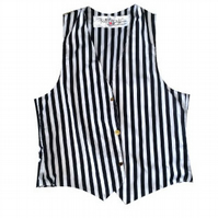 HANDMADE STRIPED BLACK AND WHITE WAISTCOAT