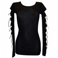 BLACK CUT OUT SLEEVES RIBBONS TOP