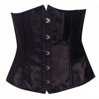 BLACK SATIN BONED CORSET BURLESQUE