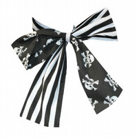 HANDMADE SKULL AND STRIPE PRINT BOW TIE