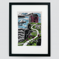 """Cliff House"" screen print framed"