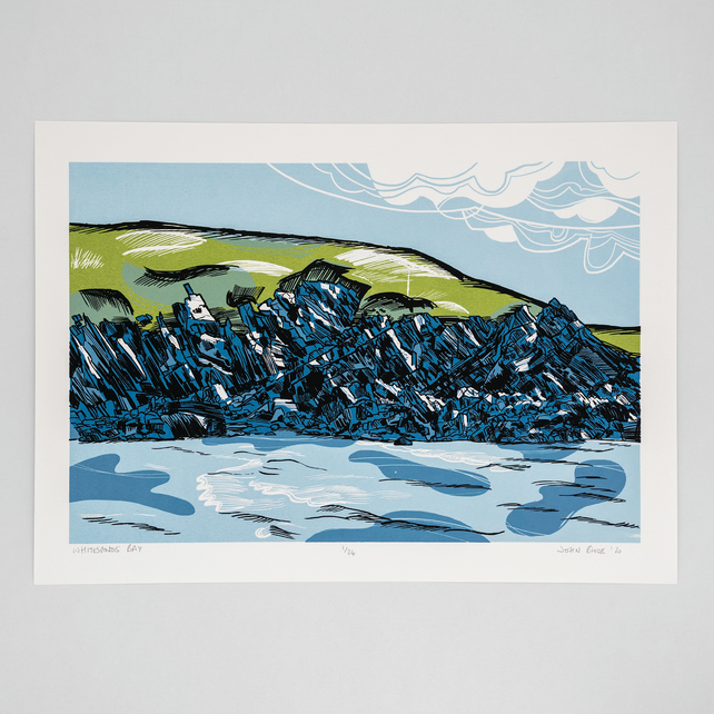 """Whitesands Bay"" limited edition screen print, rocks, cliffs, coast"