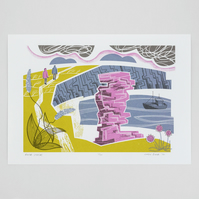 """Rock Stack"" limited edition screen print, Tintagel, Cornwall"