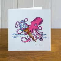 Catch of the Day greetings card, blank inside