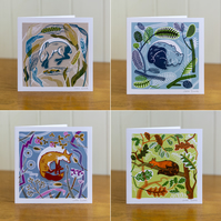 All four Sleeping Animal cards, blank inside
