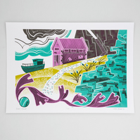 """Boat House"" limited edition hand pulled screen print"