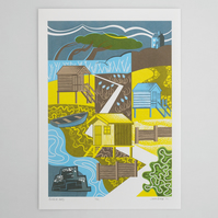 """Beach Huts"" limited edition hand pulled screen print"