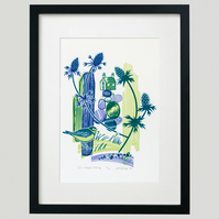 """Sea Holly House"" screen print framed"