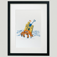 """King of the Castle"" screen print framed"