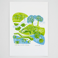 """Town and Country Badger"" hand pulled screen print"