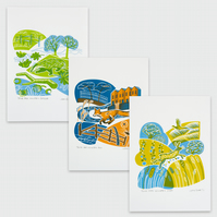 "Set of all three ""Town and Country"" hand pulled screen prints"