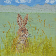 Textile art - hare in grass animal picture handmade original