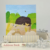 Birthday card - sun bear with bees blank