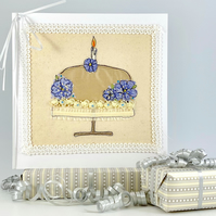 Textile art Mother's Day or Birthday card - birthday cake flowers candle