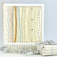 Wedding card - luxury premium embroidered fabric textile embroidery