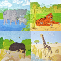 Wild animals - Birthday card set of zoo animals