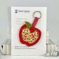 Apple textile keyring - felt and fabric key ring, great teachers thank you gift