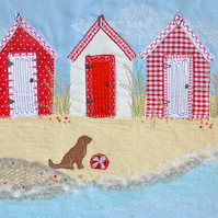 Beach Huts art - textile art of red beach hut picture with dog, seaside