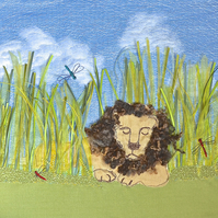 Lion - large textile embroidered fabric picture