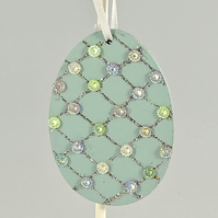 Easter egg decoration - hanging jewelled egg, handmade