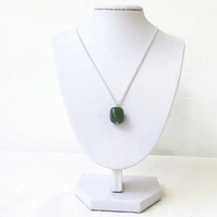 Moss agate pendant necklace, silver plated raw gemstone necklace