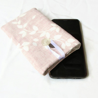 Iphone X, 11 or 11pro padded phone case in pink fabric