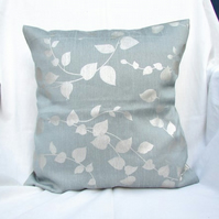 Silver and blue grey leaf print cushion cover - 16 inch square