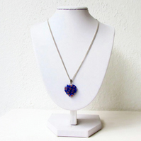 Blue glass heart necklace on silver plated chain