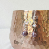 Purple pearl and crystal dangle earrings