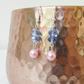 Pink pearl and blue crystal dangle earrings
