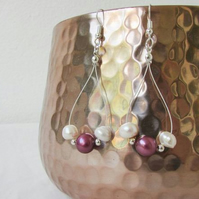 Dark pink freshwater pearl earrings