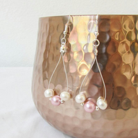 Baby pink freshwater pearl earrings