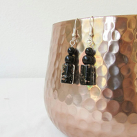 Black glass bead earrings