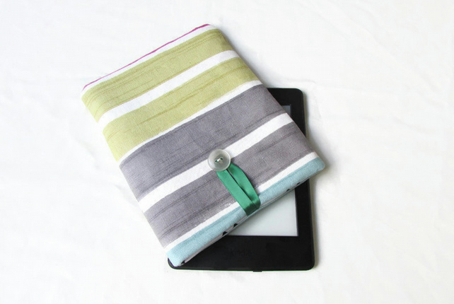 Fabric Kindle or Kindle Paperwhite case in striped fabric